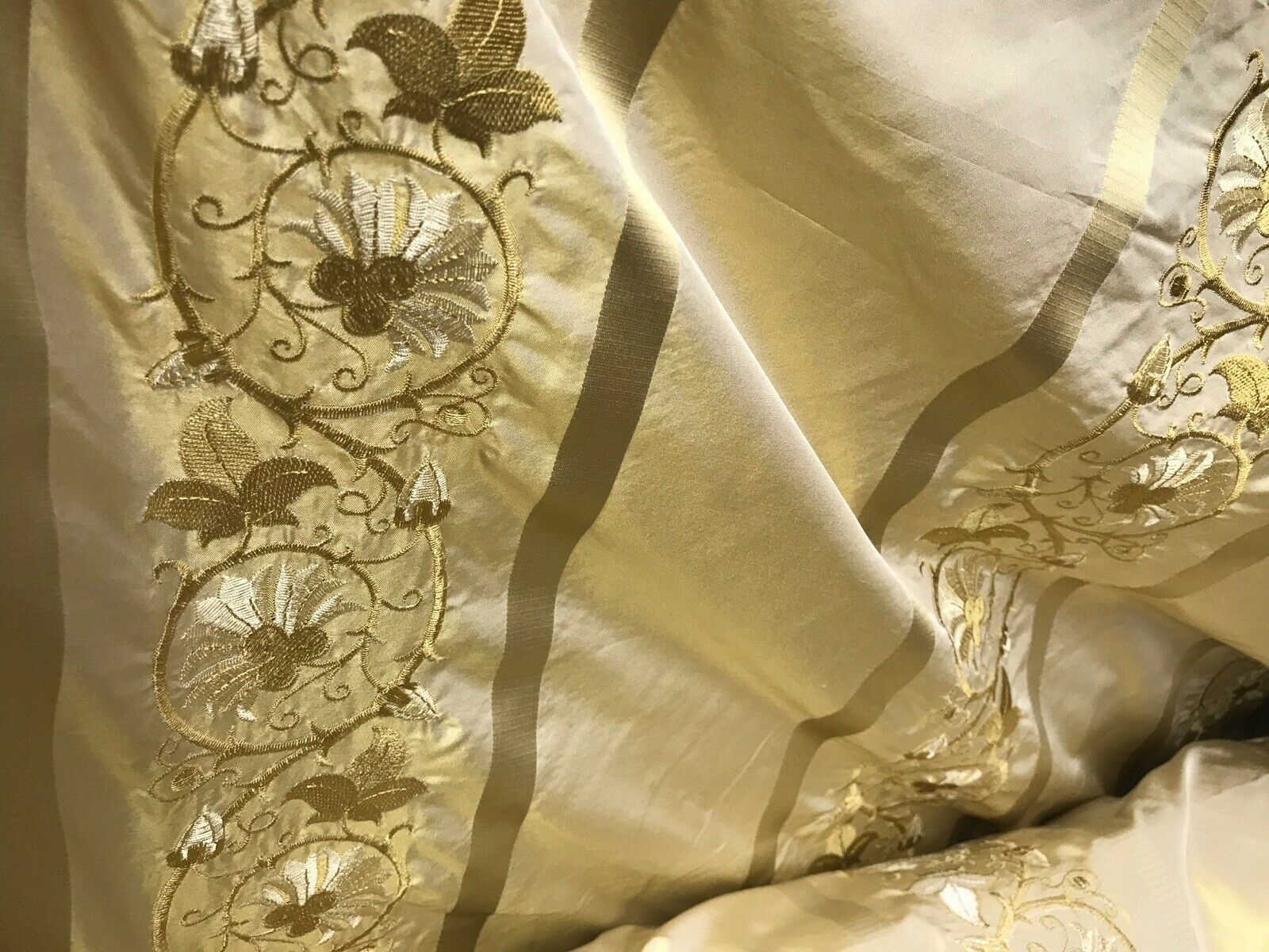 "Duchess Jezebel Designer 100% Silk Taffeta Dupioni Embroidery Fabric Yellow 55"" Wide"
