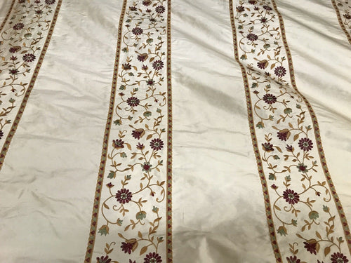 Designer 100% Silk Taffeta Embroidery Fabric - Antique Light Beige Floral - Fancy Styles Fabric Pierre Frey Lee Jofa
