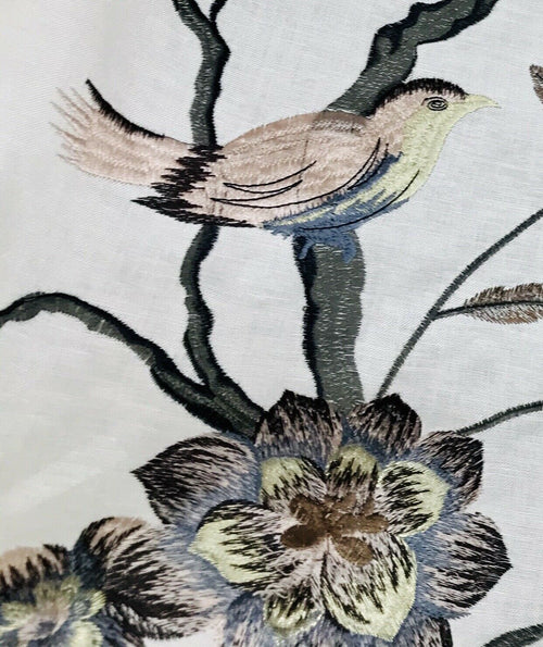 NEW! Cotton Blend Embroidered Bird & Floral Drapery Fabric- Upholstery Grey Pink