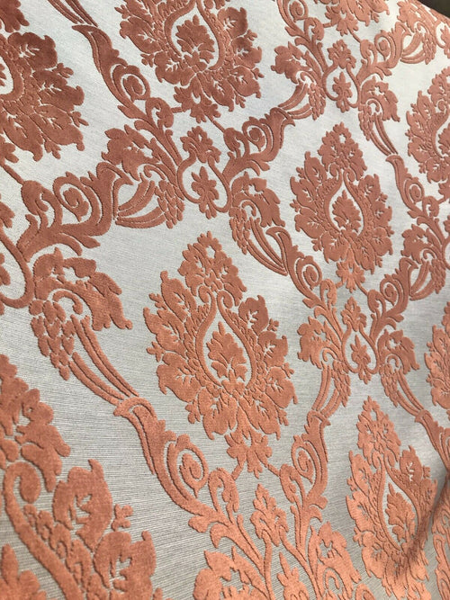 NEW Designer Velvet Chenille Burnout Damask Upholstery Fabric - Orange BTY