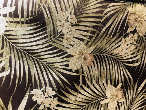 BACK IN STOCK! Designer Brocade Upholstery Fabric- Palm Leaves Floral Brown