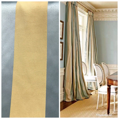 SWATCH Stripe Satin Interior Design Fabric Antique Blue And Gold - Fancy Styles Fabric Boutique