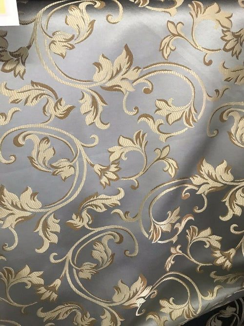 NEW SALE Neoclassical Brocade Satin Damask Upholstery Fabric- Louis Blue Gray