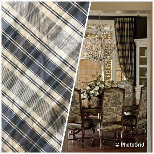 NEW Designer 100% Silk Taffeta Plaid Tartan Fabric- Black Taupe Cream