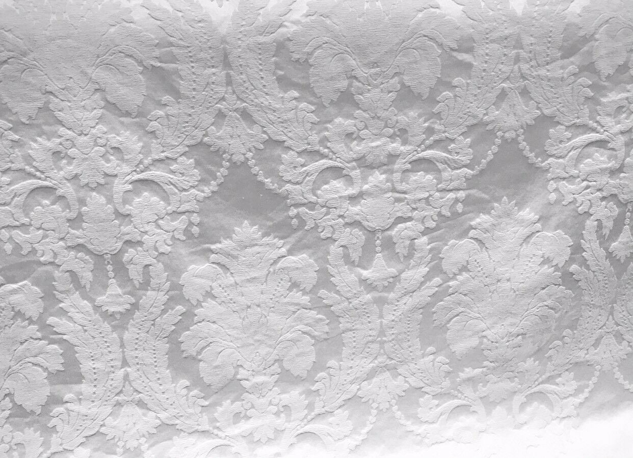 Designer Brocade Satin Fabric- Bleached White- Drapery Upholstery Damask