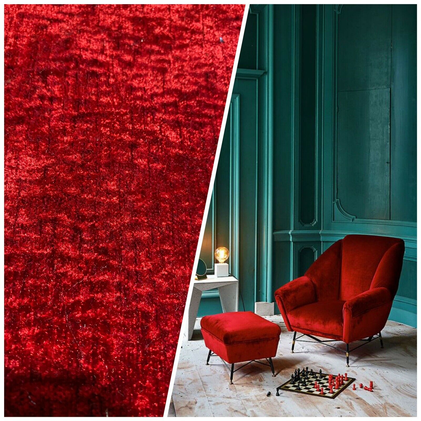 NEW! Mini-Crush Velvet Upholstery & Drapery Fabric - Deep Red- By The Yard