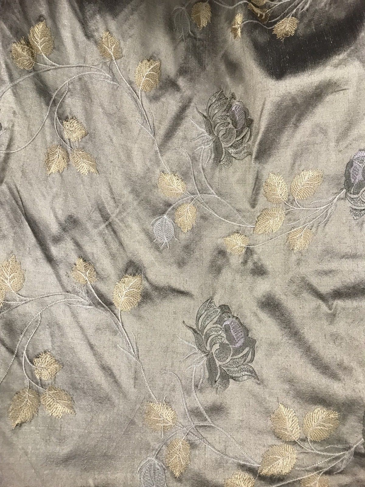 SALE! 100% Silk Taffeta Drapery Embroidery Fabric - Gray W/ Lilac & Gold Floral - Fancy Styles Fabric Boutique