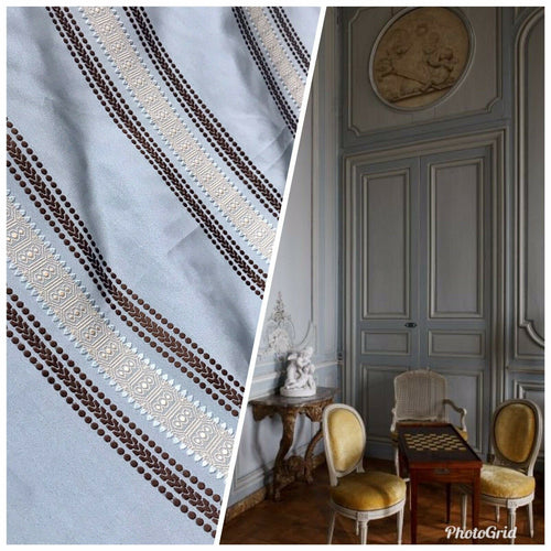 Designer Brocade Satin Fabric- Pale Blue, Brown, Gold Stripes Neoclassical G1