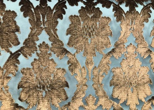 SWATCH- Italian Burnout Damask Chenille Velvet Fabric Bronze & Teal- Upholstery - Fancy Styles Fabric Boutique