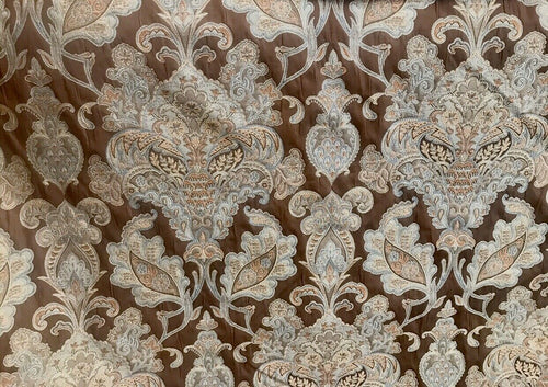 NEW Designer Burnout Damask Brocade Fabric - Brown And Light Blue