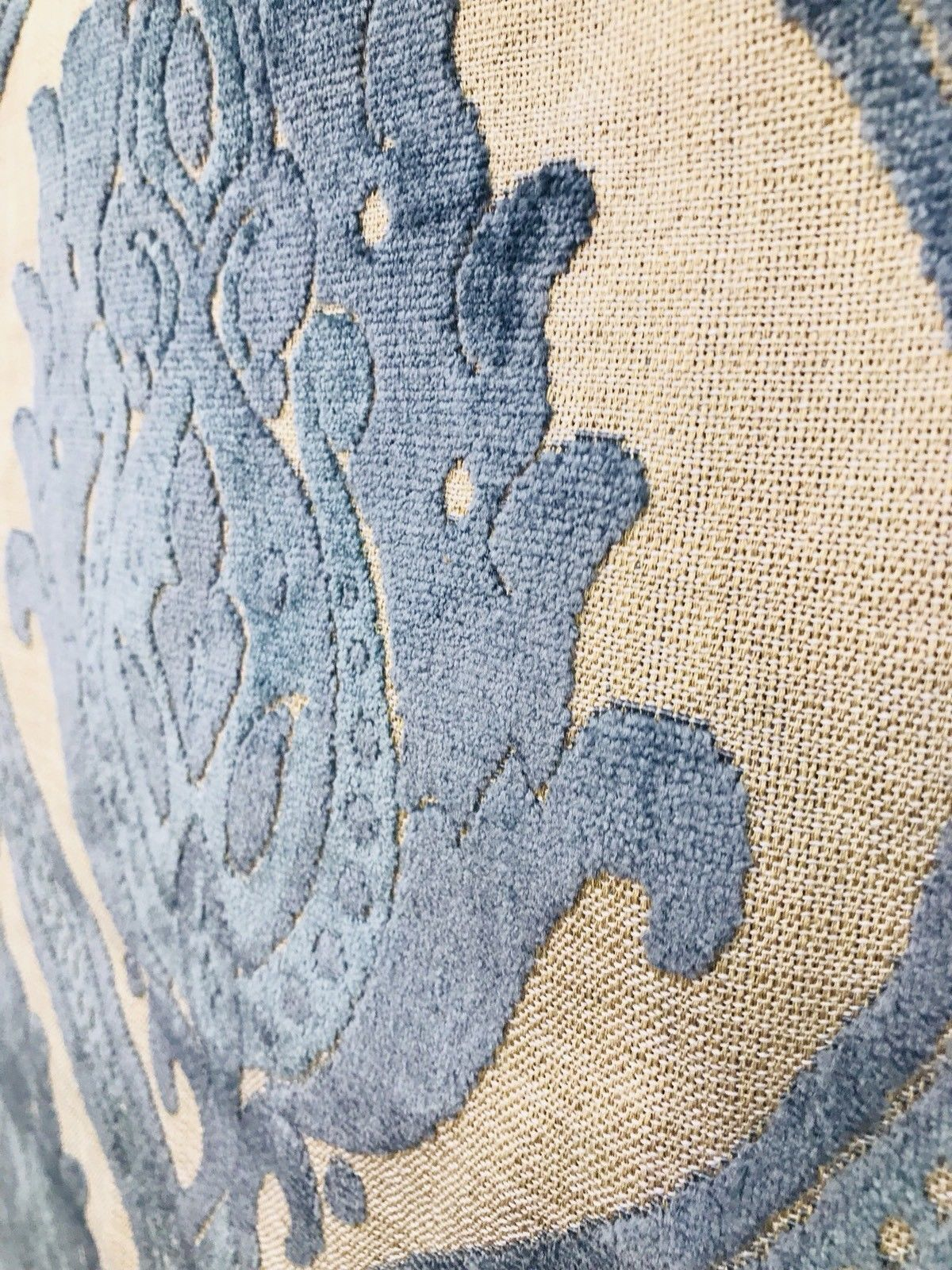 SWATCH Designer Italian Burnout Damask Chenille Velvet Linen Fabric Upholstery - Fancy Styles Fabric Boutique