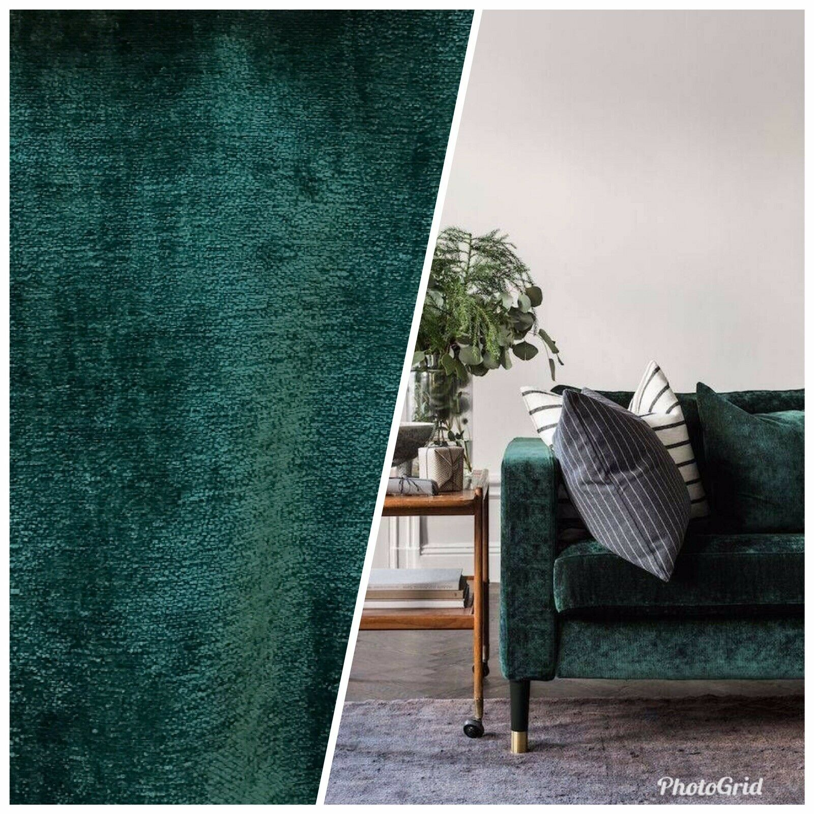 Designer Upholstery Thick And Soft Chenille Velvet Fabric - Emerald Green BTY