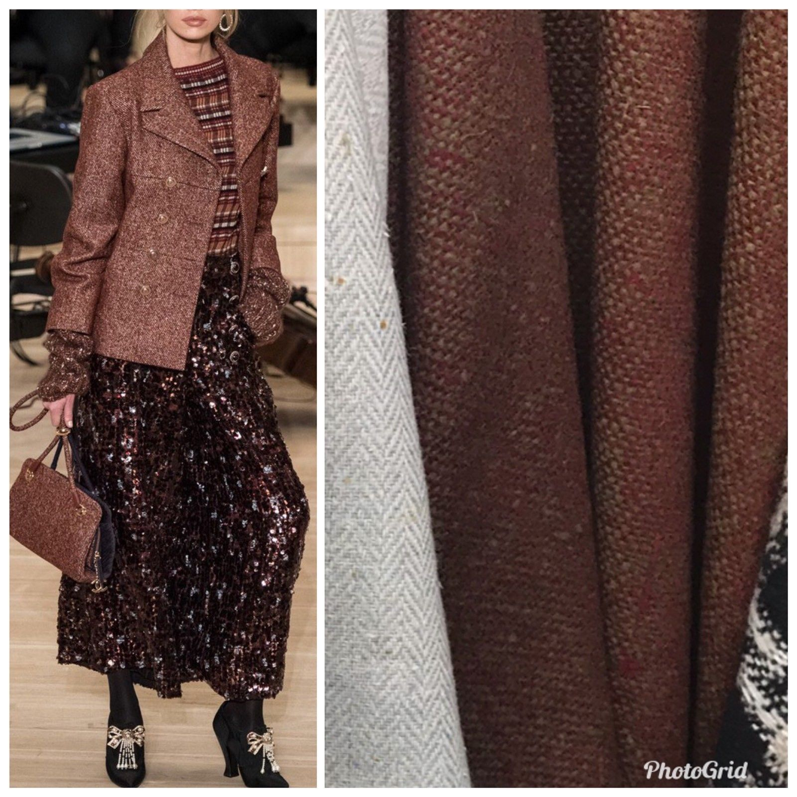Designer Wool Blend Woven Coat Tweed Fabric - Brick & Green Melange- By The Yard - Fancy Styles Fabric Pierre Frey Lee Jofa Brunschwig & Fils