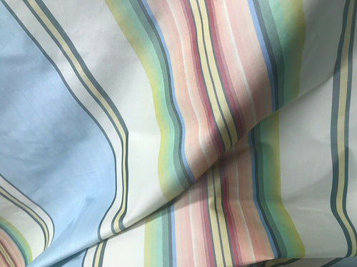 "NEW Designer 100% Silk Taffeta Dupioni Stripes Fabric - Blue Pink 55"" Wide"