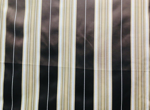 Designer Brocade Satin Fabric- Brown, Pale Blue Gold Stripes Neoclassical G2