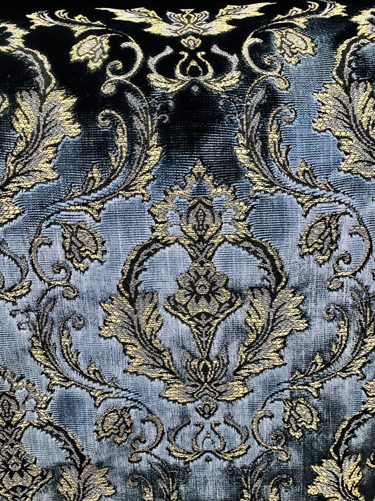 NEW Novelty Designer Italian Burnout Damask Velvet Fabric - Upholstery- By The Yard