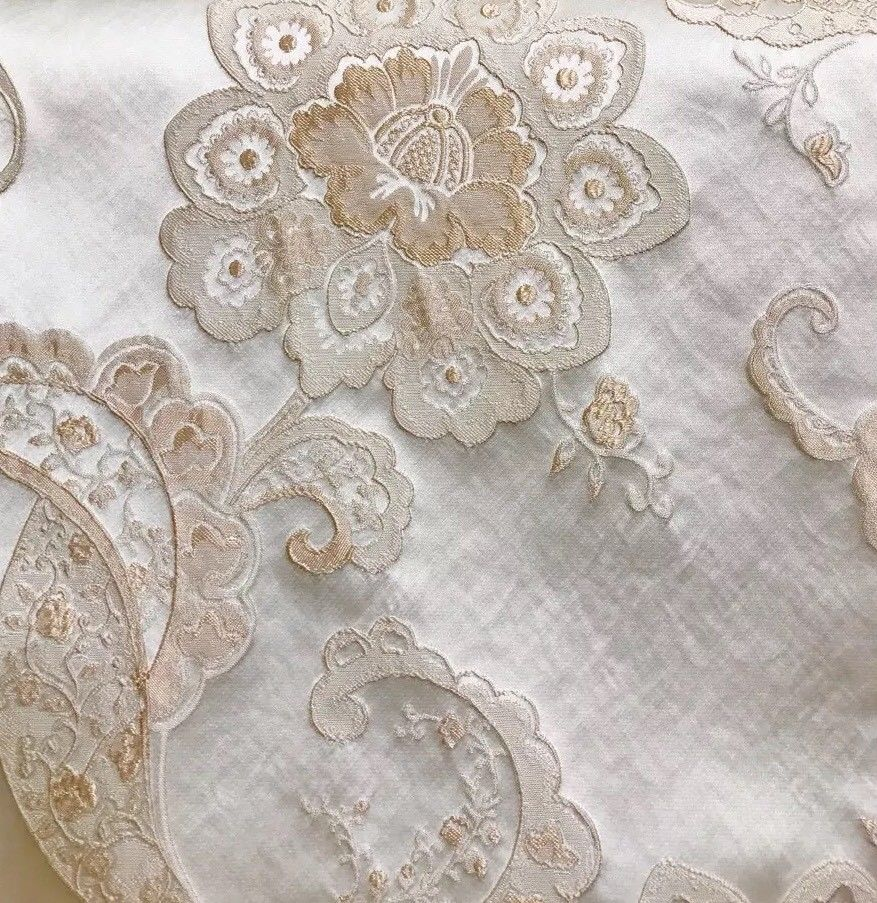 SWATCH Designer Brocade Satin Fabric- Antique Pink On Ivory - Upholstery - Fancy Styles Fabric Boutique