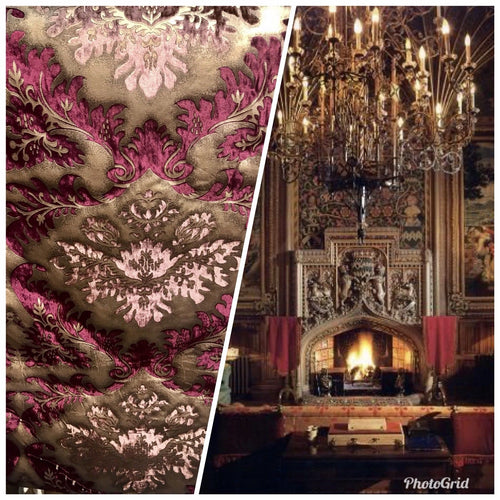 3/4 Yard Remnant-Burnout Damask Cut Velvet Fabric Metallic Gold & Maroon Drapery - Fancy Styles Fabric Pierre Frey Lee Jofa