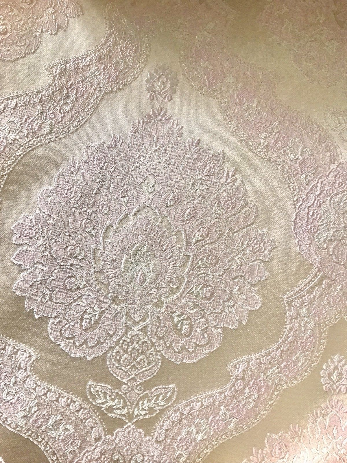 SWATCH- Designer Brocade Satin Fabric- Antique Pink On Ivory - Upholstery - Fancy Styles Fabric Boutique