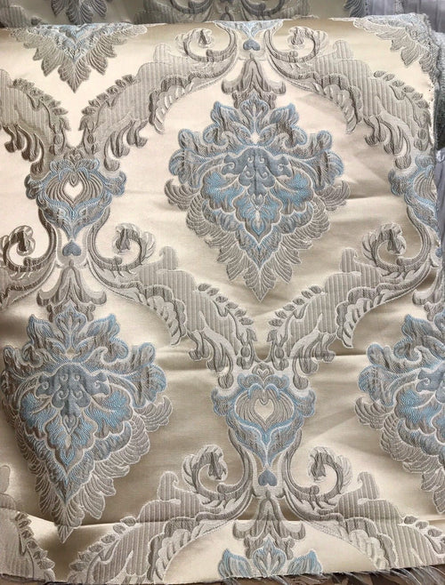 SWATCH Brocade Satin Fabric - Eggshell Blue Ivory  Floral Upholstery Damask - Fancy Styles Fabric Boutique