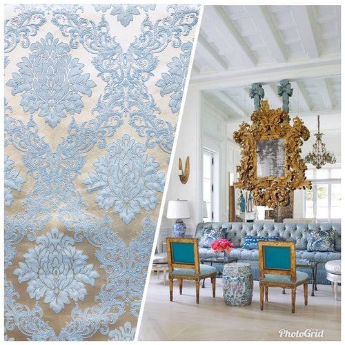 NEW Designer Brocade Damask Upholstery Decorating Fabric- Powder Blue - Fancy Styles Fabric Pierre Frey Lee Jofa Brunschwig & Fils