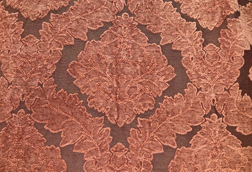 NEW Designer Velvet Chenille Burnout Damask Upholstery Fabric - Burnt Orange