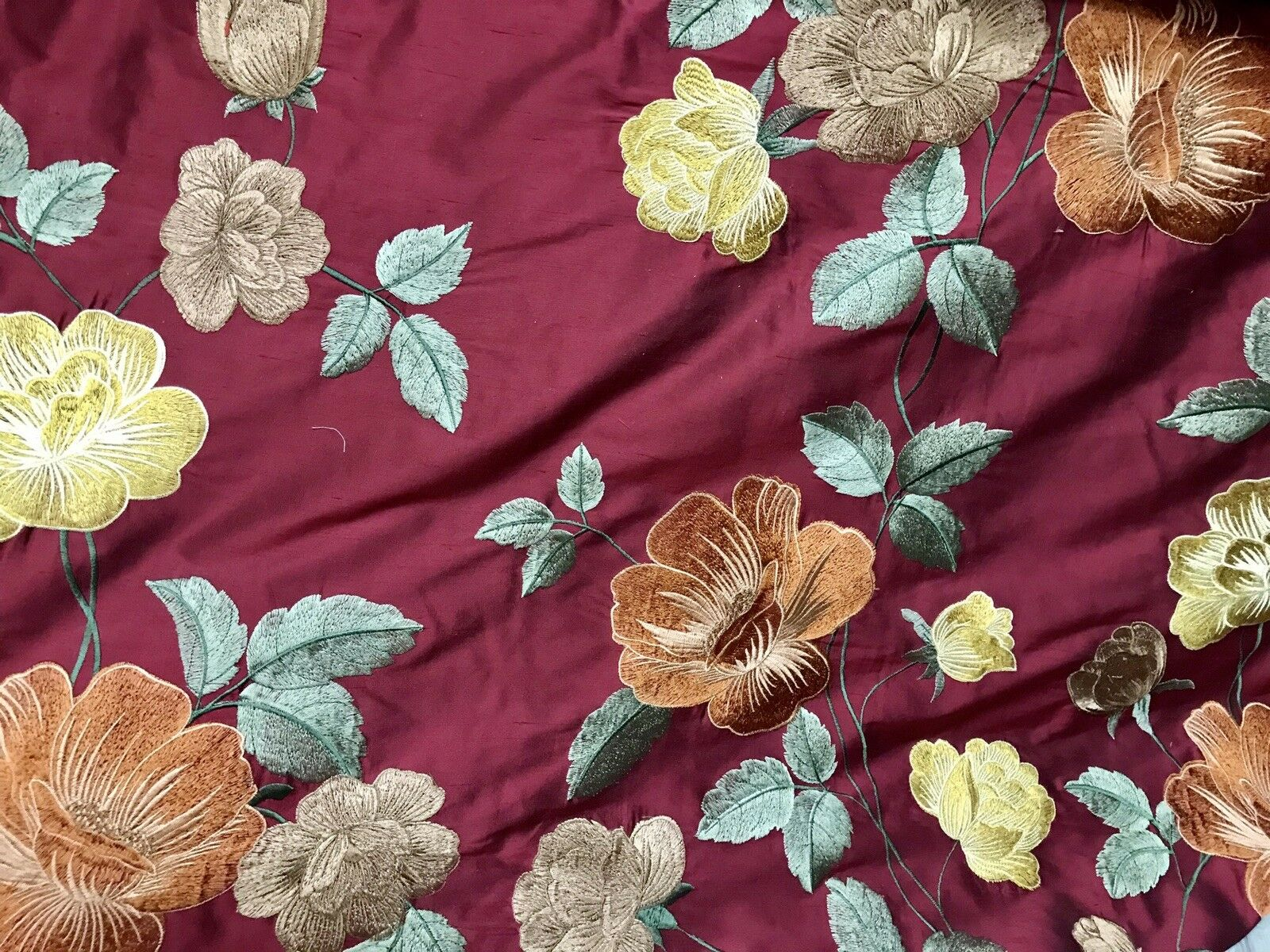 Back in Stock!  100% Silk Taffeta Embroidery Floral Fabric- Dark Red