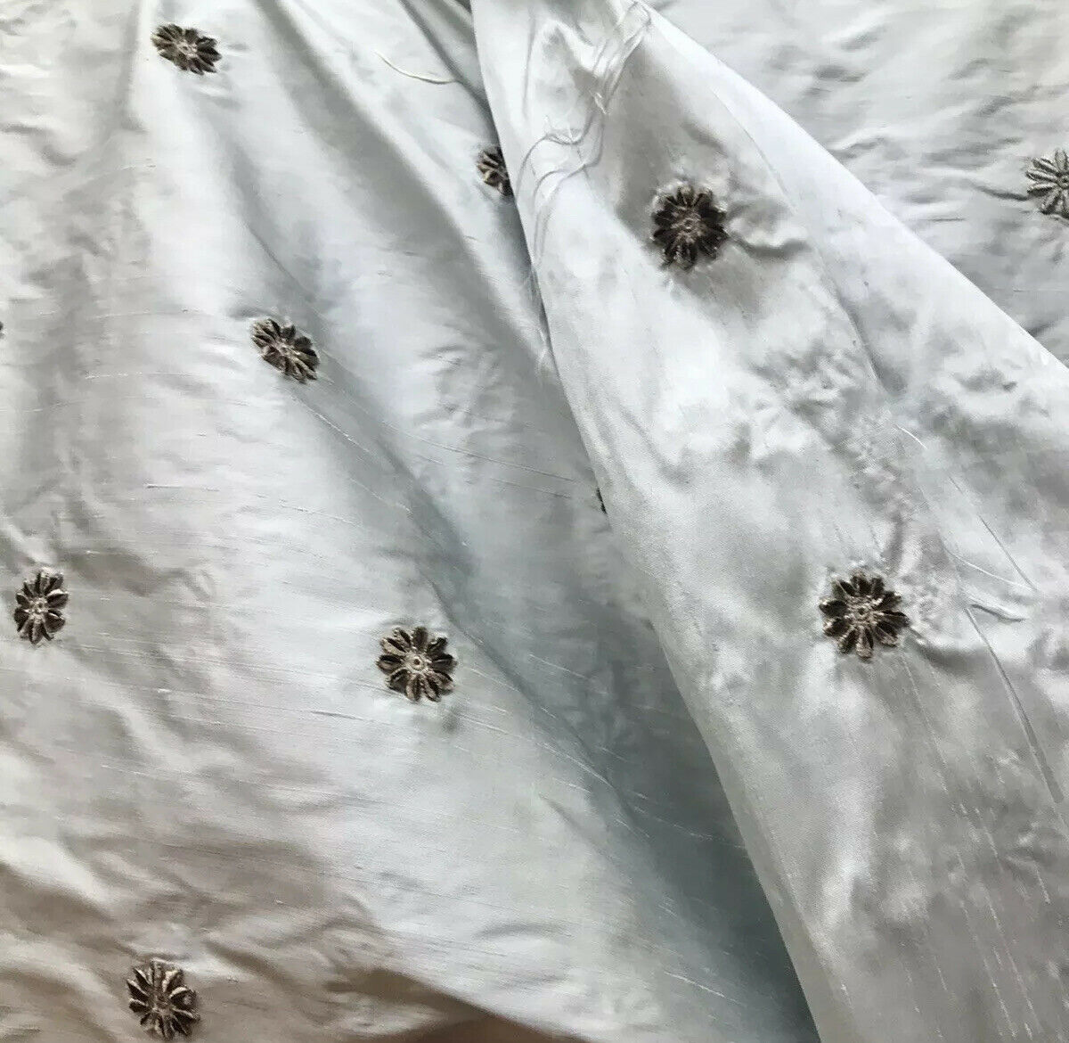 NEW! Lady Margaret 100% Silk Dupioni Taffeta Fabric- Velvet Grey Embroidery Floral -Light Blue