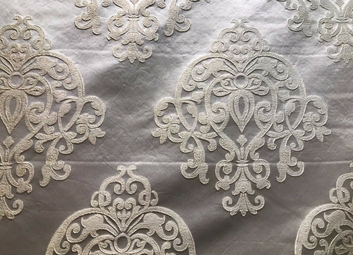 NEW! Designer Brocade Satin Fabric- Gray Ivory- Upholstery Damask LLPBI0001
