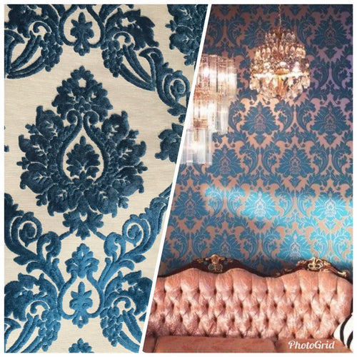 NEW Designer Damask Burnout Chenille Velvet Fabric - Dark Turquoise Blue- Upholstery