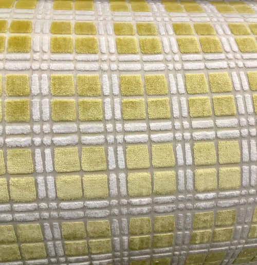 NEW Novelty Upholstery High Pile Burnout Velvet Fabric Yellow Tartan - Fancy Styles Fabric Boutique