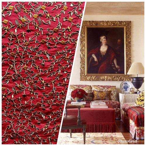 SWATCH Designer 100% Silk Taffeta Embroidered Fabric - Red Floral - Fancy Styles Fabric Boutique