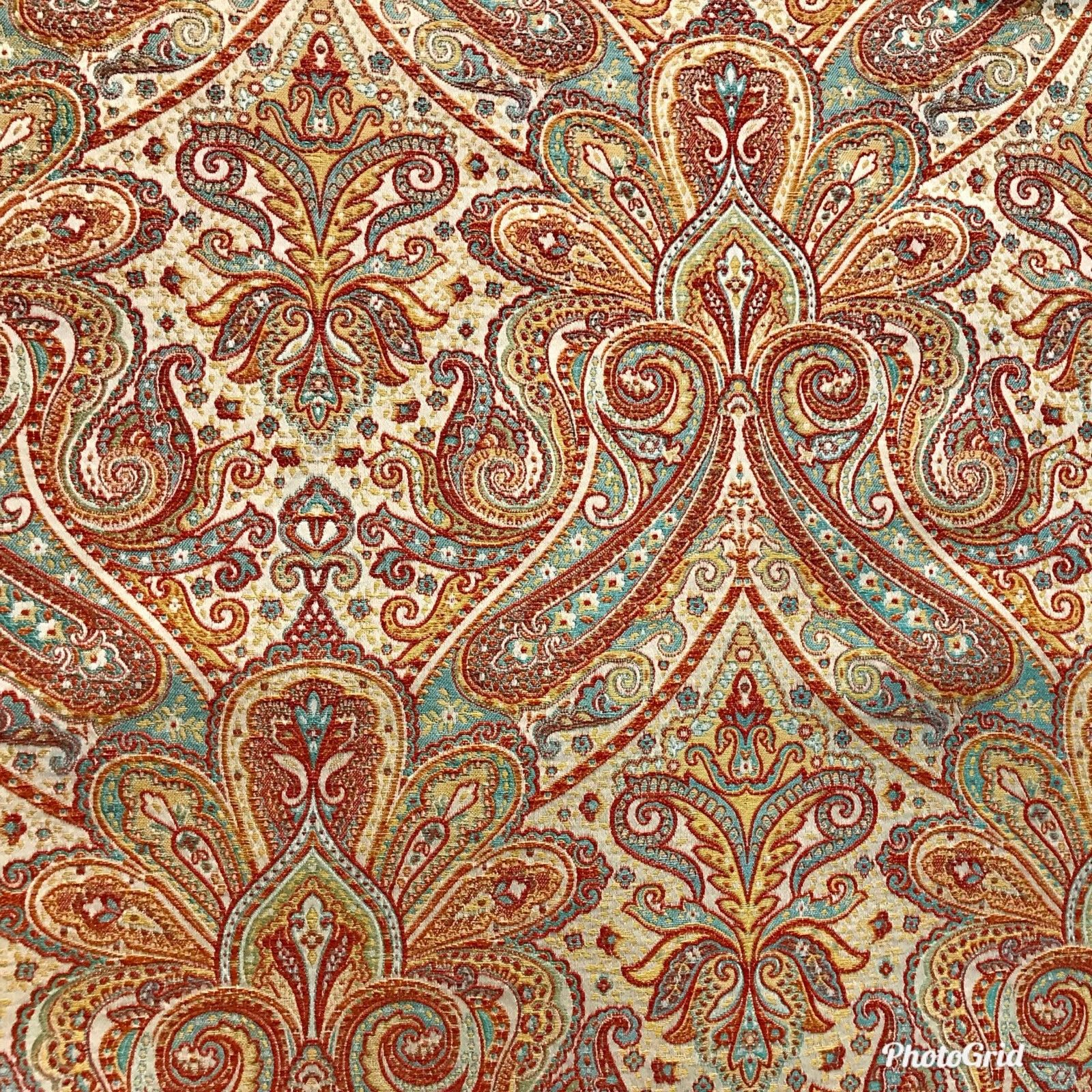 "SWATCH 4"" X 7"" - Antique Inspired Paisley Brocade Satin Fabric- Upholstery - Fancy Styles Fabric Boutique"