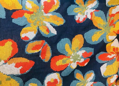 Novelty Cotton Oversized Floral Needlepoint Fabric- Blue-By The Yard