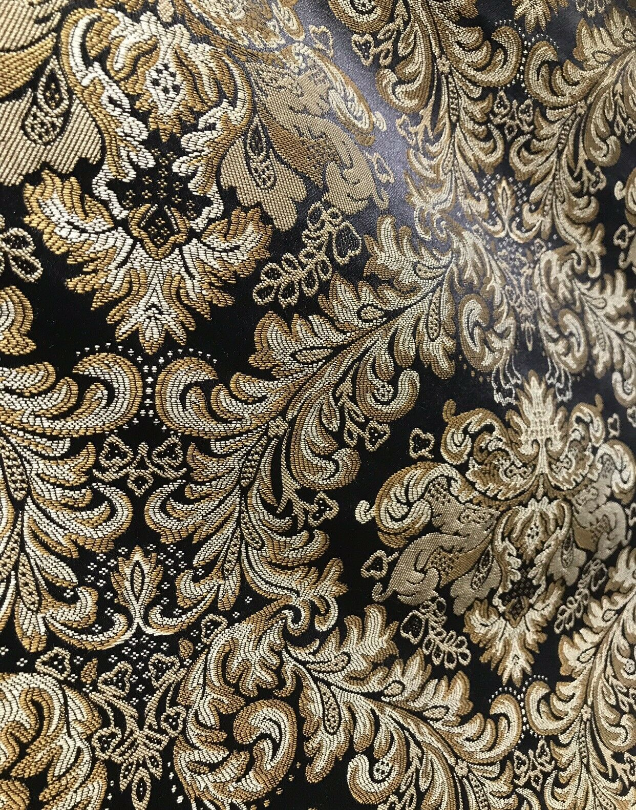 Prince Liam Neoclassical Brocade Satin Fabric Black Gold Upholstery Damask LLPBK0003