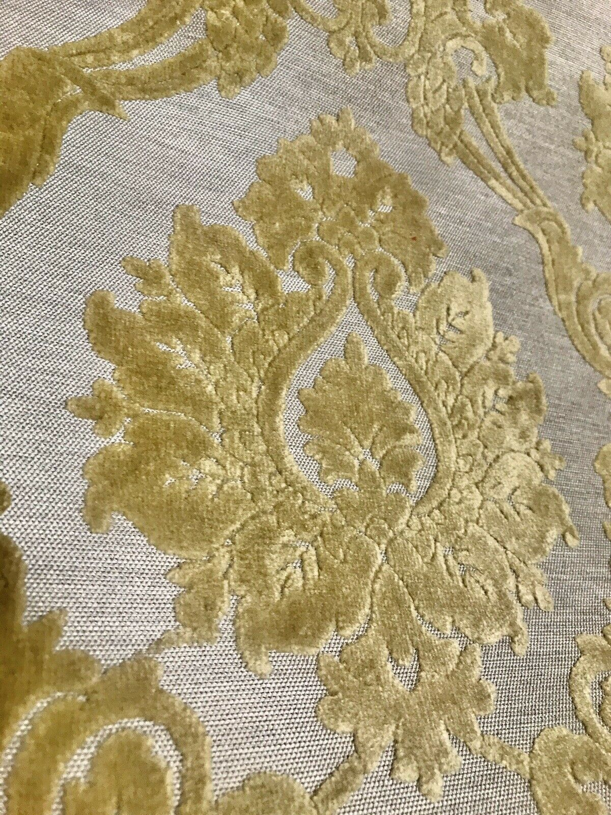 NEW Duke Raphael Designer Velvet Chenille Burnout Damask Upholstery Fabric - Yellow BTY
