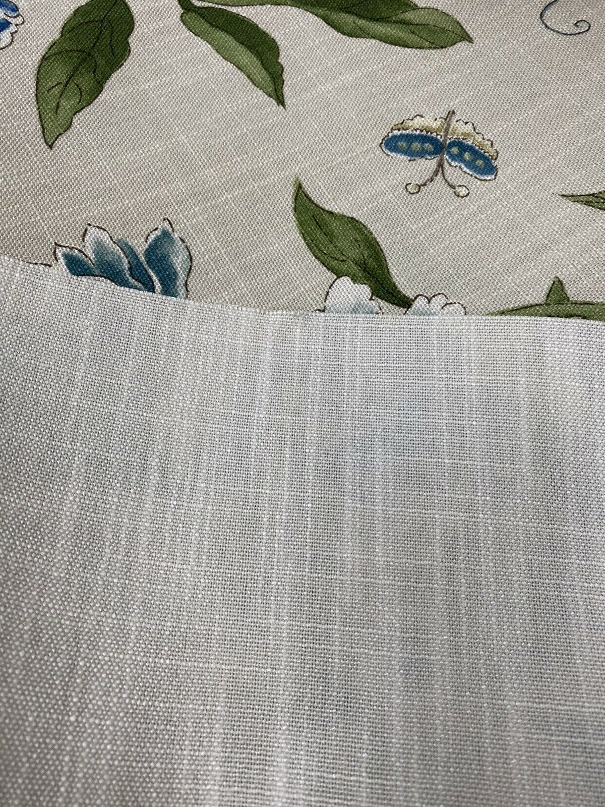 NEW! Designer Floral & Bird Motif Drapery Upholstery Fabric- French Blue & Flax
