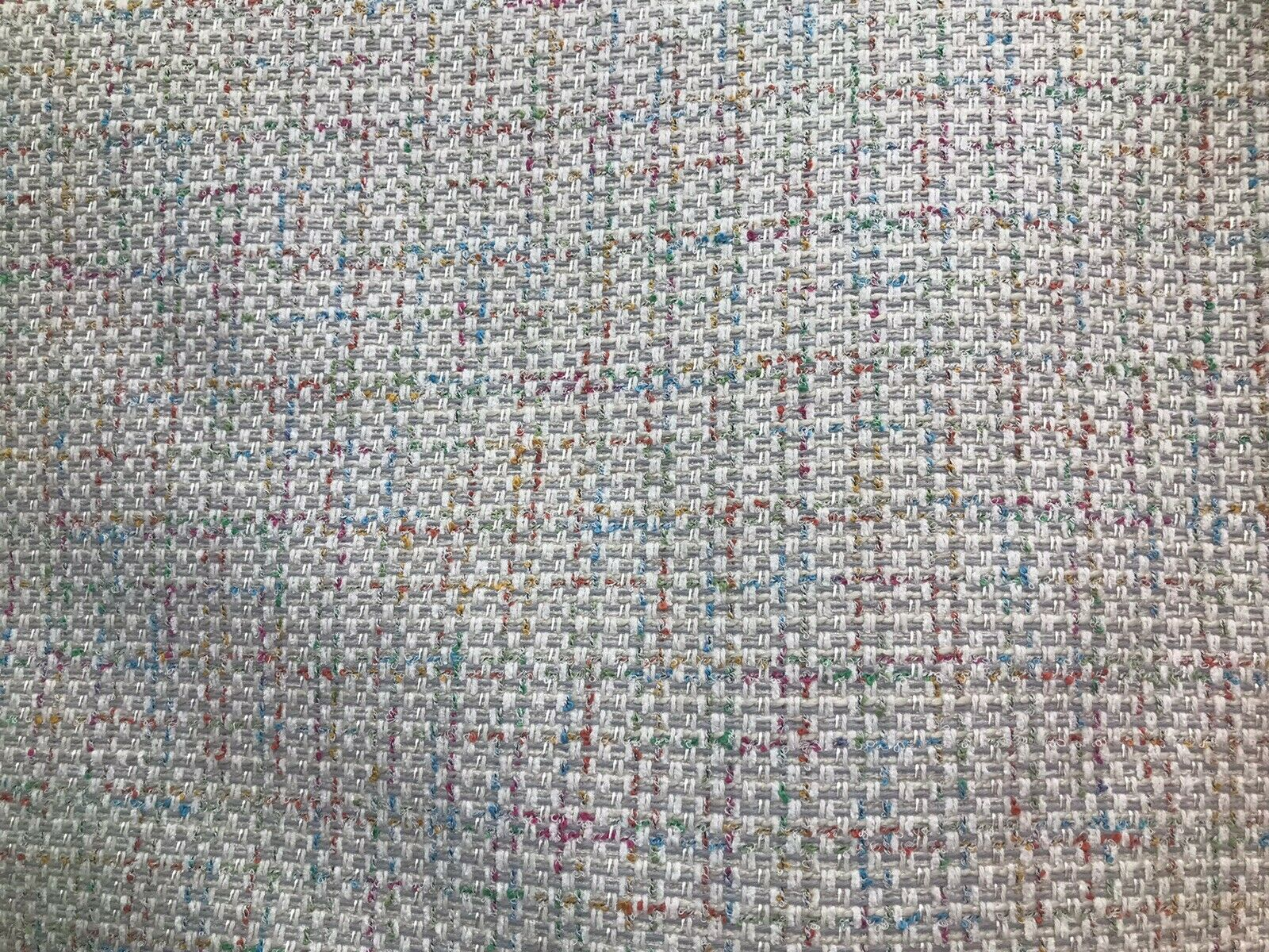 NEW Designer Nubby Upholstery Heavyweight Tweed Fabric- Lt Gray & Multicolor BTY