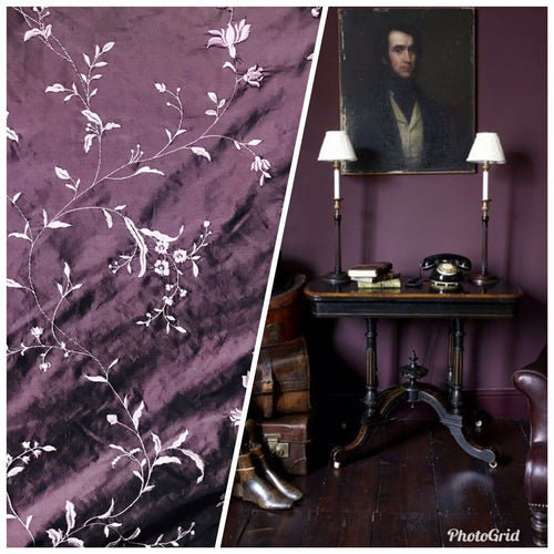 1 Yard Remnant: Queen Amaranth 100% Silk Dupioni Embroidered Floral Fabric- Purple