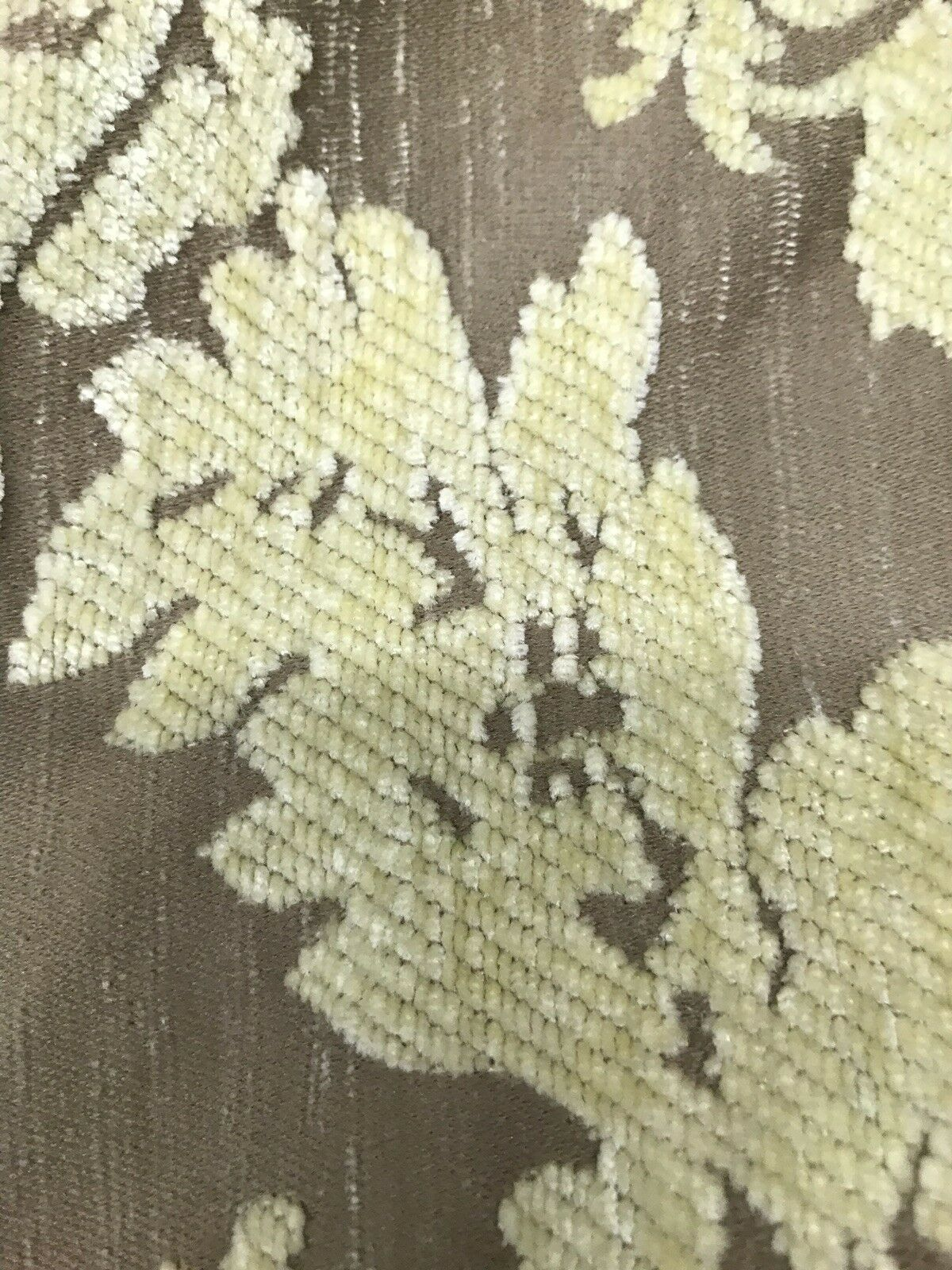 BACK IN STOCK!!! Damask Burnout Chenille Velvet Fabric - Soft Yellow & Taupe