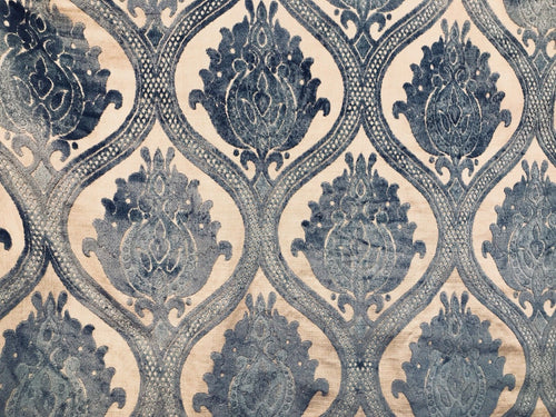 NEW Designer Italian Burnout Damask Chenille Velvet On Linen Fabric Upholstery - Fancy Styles Fabric Boutique