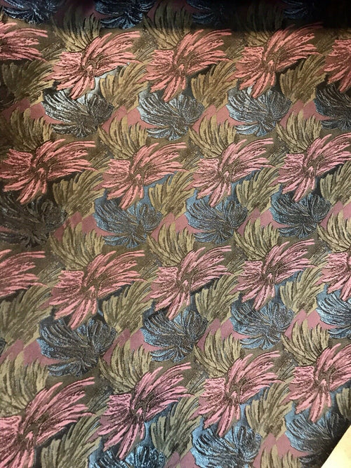 "SALE SALE! 100% Silk Floral Palm Drapery Fabric - Pink Green-By The Yard- 25"" wide"