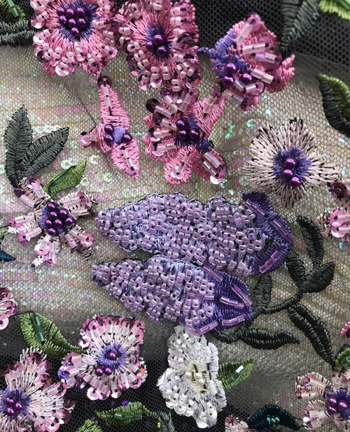 NEW Novelty Couture 100% Silk Floral Mesh Beaded & Embroidered Fabric- Pink