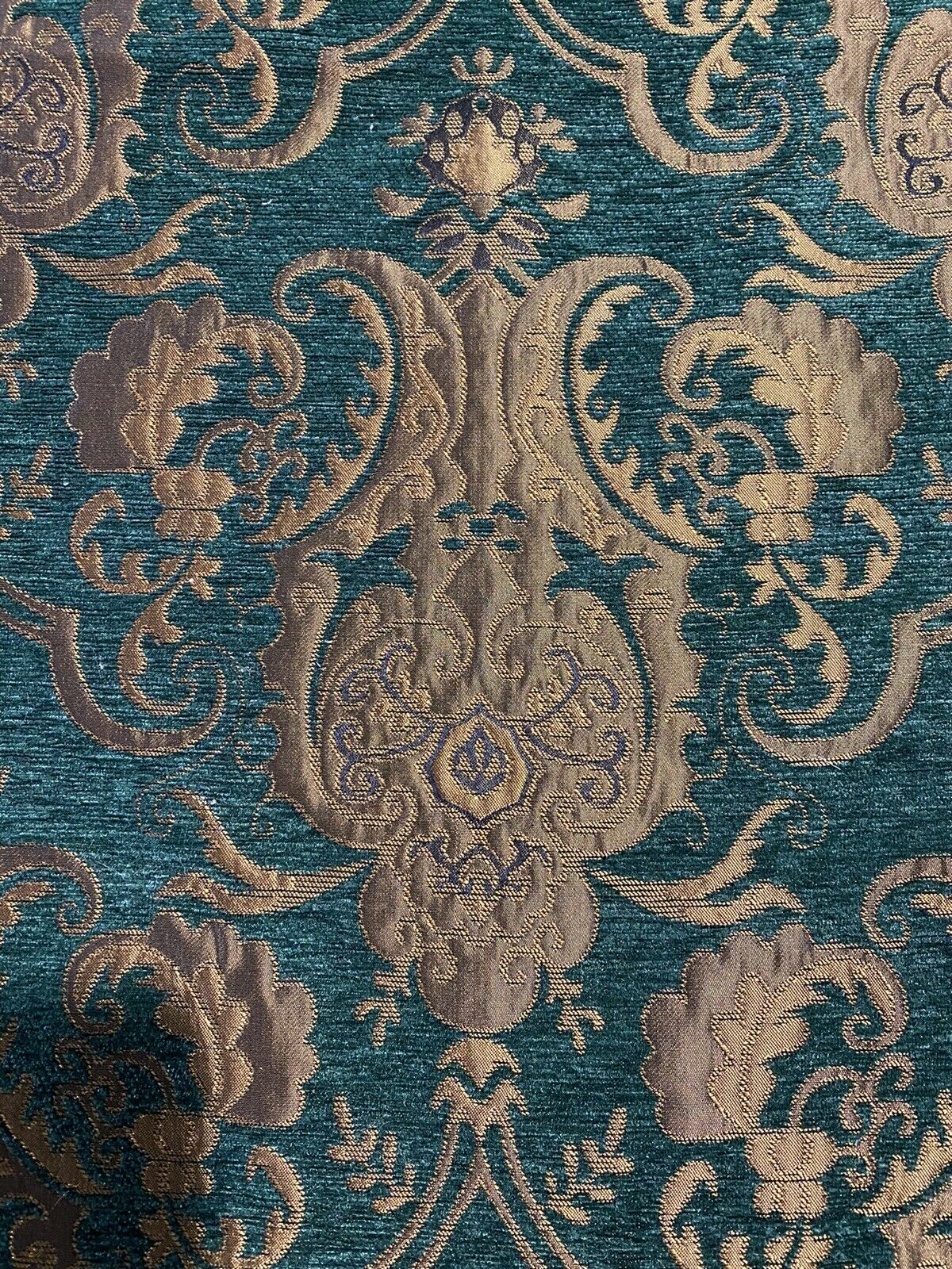 NEW Designer Damask Burnout Chenille Velvet Fabric - Green & Metallic Gold BTY