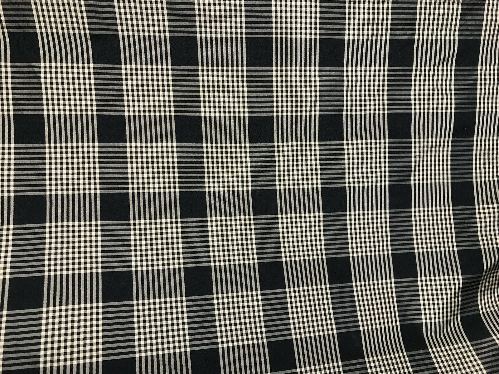 NEW Designer 100% Silk Taffeta Gingham Plaid Tartan Fabric- Black Beige
