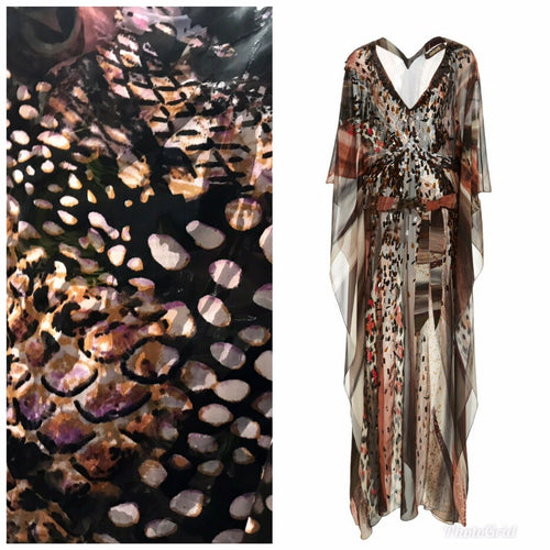 "36"" X 32"" Remnant- Burnout 100% Silk Charmeuse Chiffon Animal Leopard - Fancy Styles Fabric Pierre Frey Lee Jofa"