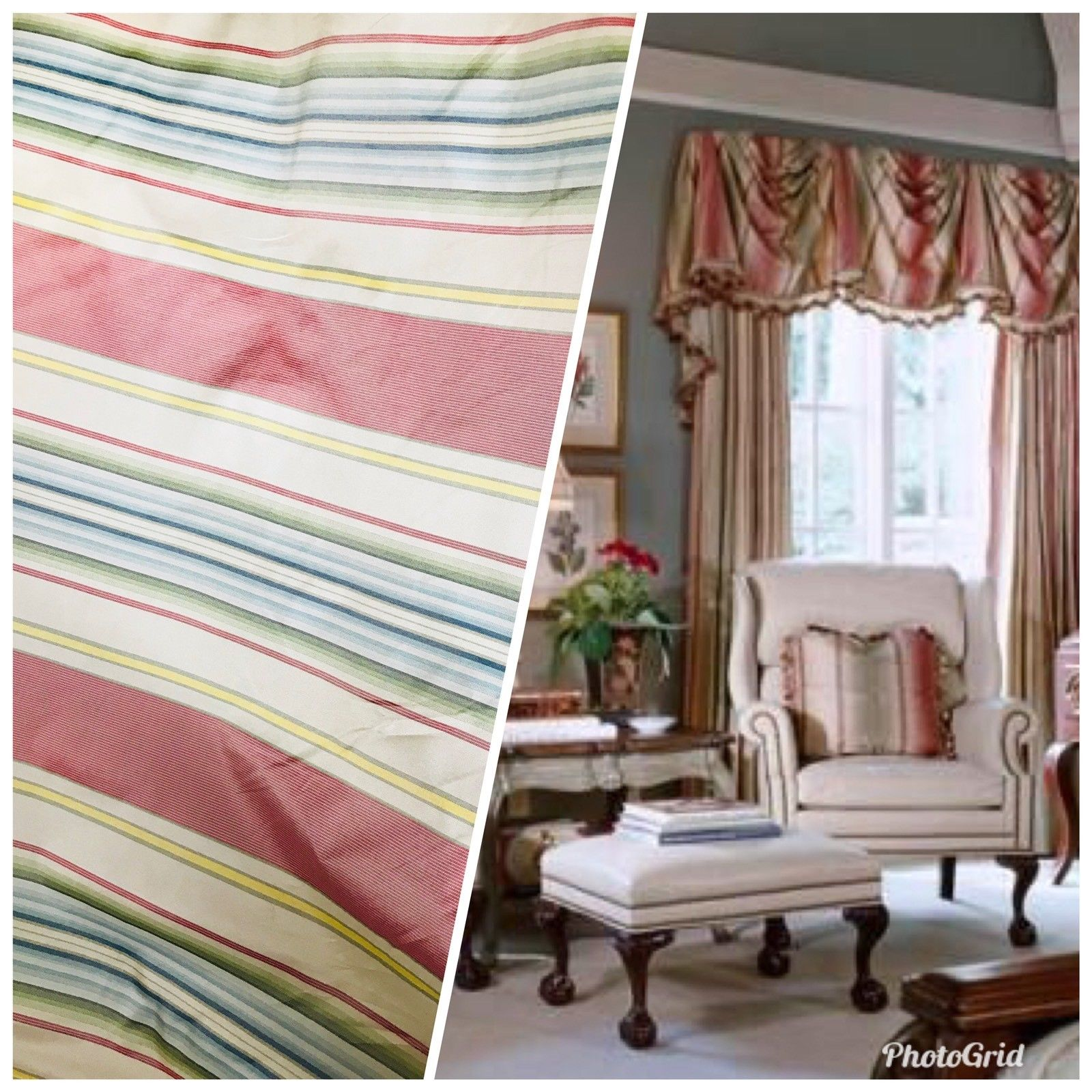 SALE! Striped 100% Silk Taffeta Fabric With Faded Colorful Stripes - Fancy Styles Fabric Boutique