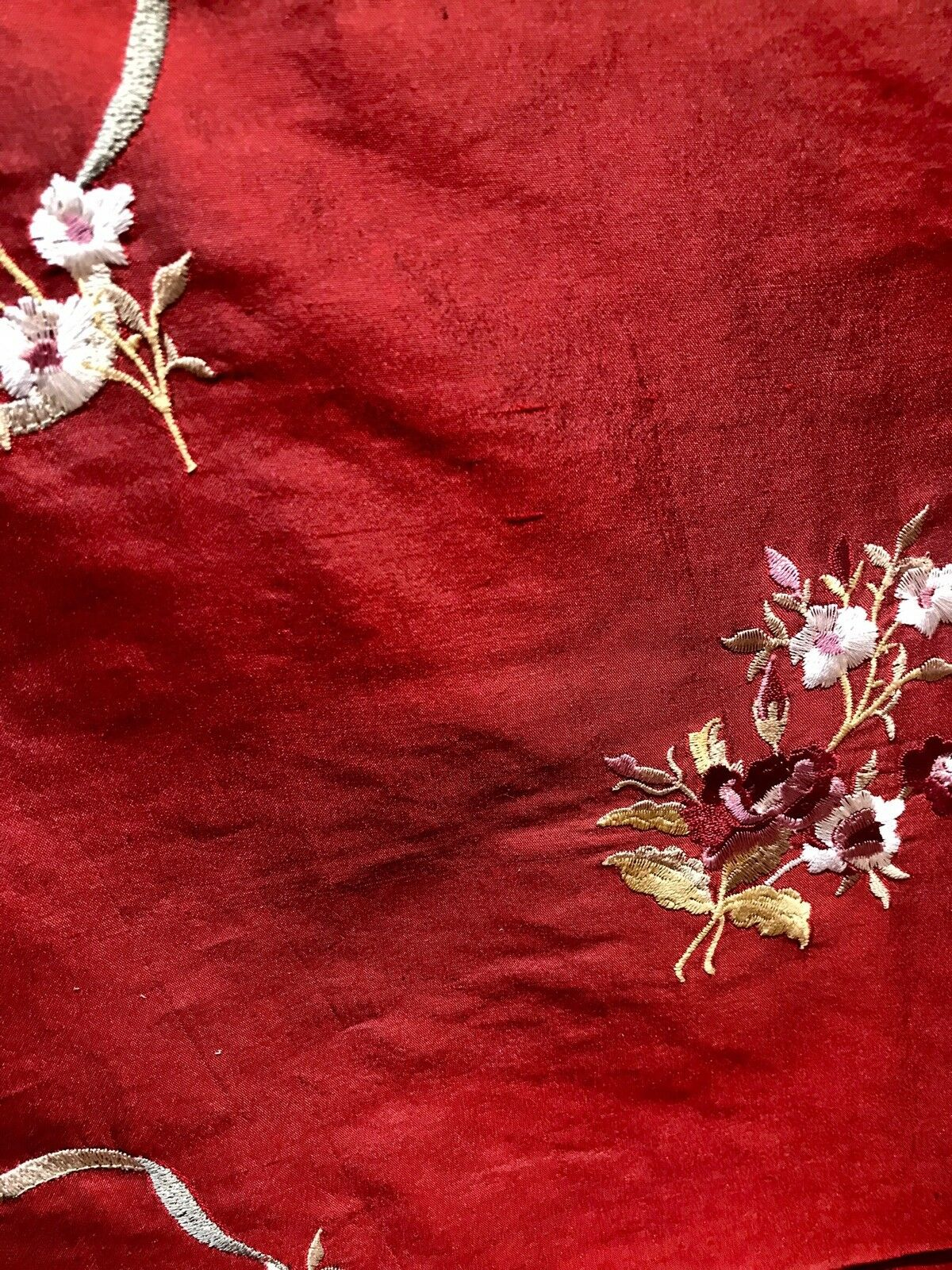 Designer 100% Silk Taffeta Dupioni Embroidery Fabric- Floral Ribbon Red