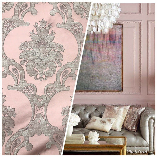NEW Designer Satin Burnout Damask Drapery Upholstery Fabric - Pink BTY