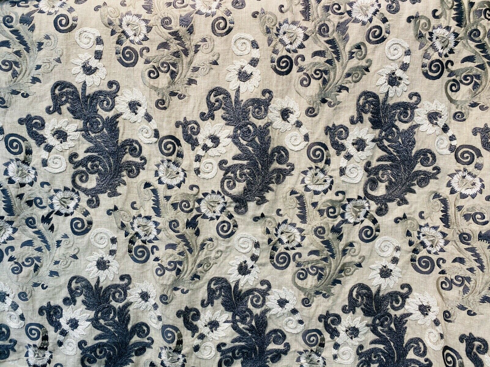 NEW! Novelty 100% Linen Fabric Floral Crewel Embroidery- Blue, White, Ecru
